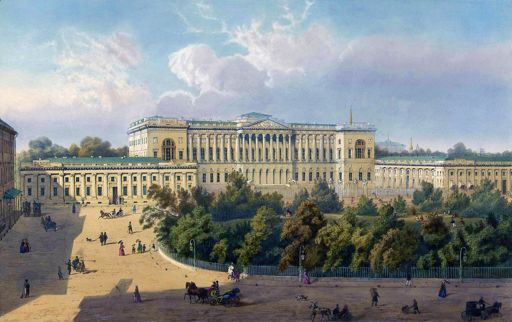 Mikhailovsky Palace in St. Petersburg in the 19th century