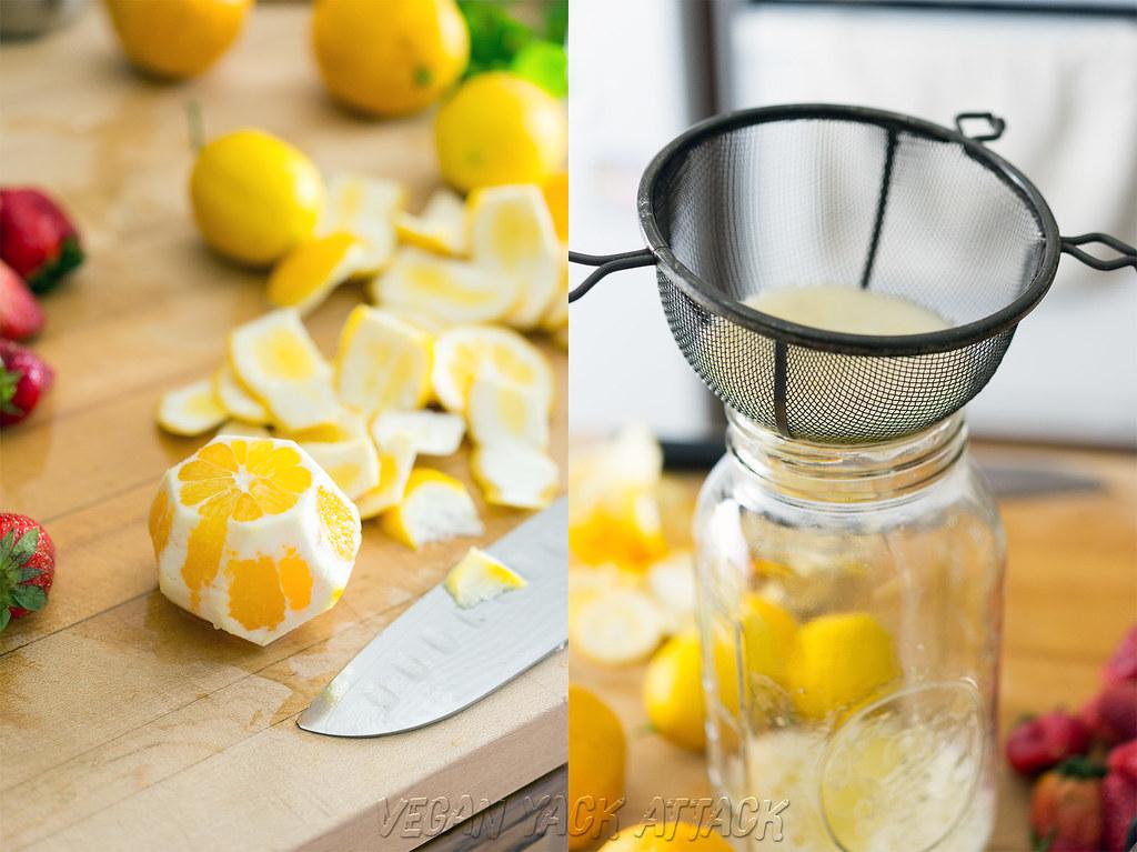 straining blended lemons
