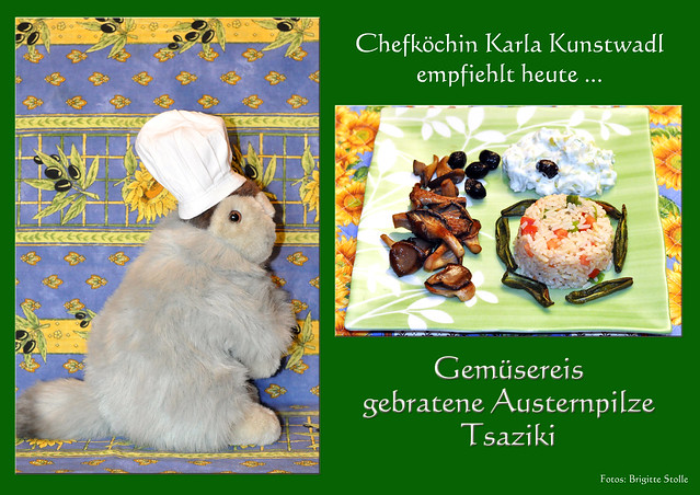 Chefköchin Karla Kunstwadl empfiehlt heute Gemüsereis gebratene Austernpilze Tzaziki vegetarisch Foto Brigitte Stolle 2016
