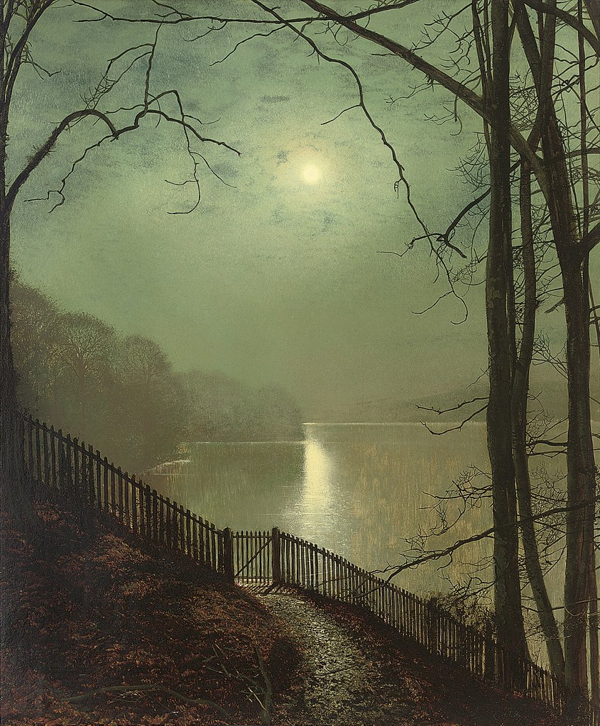 Moonlight on the lake Roundhay Park Leeds by John Atkinson Grimshaw (1836 - 1893)