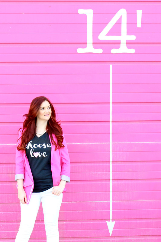 Details of the hot pink blazer. Choose Love shirt.