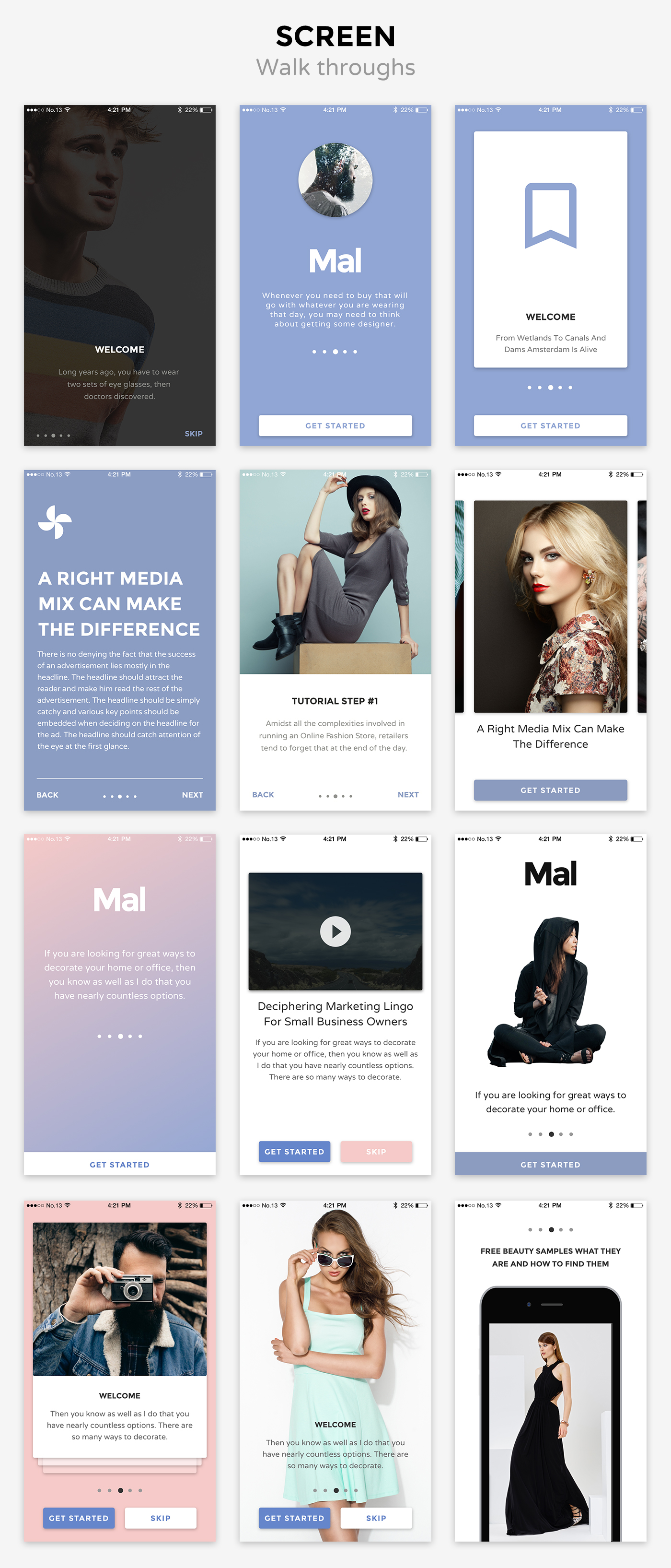 mal walkthroughs Mal Mobile UI KIT  (User Interfaces)