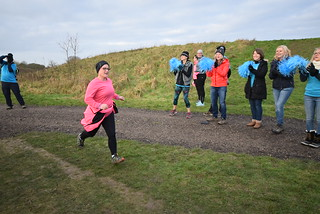 Adele finishing in spectacular fashion at Great Notley parkrun.