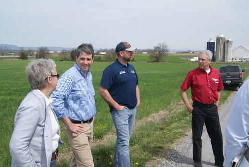 (From left) Pennsylvania Department of Agriculture Deputy Secretary Hannah Smith-Brubaker, USDA Risk Management Agency Associate Administrator Tim Gannon, Jason Forrester and Tony Forrester talking about crop insurance