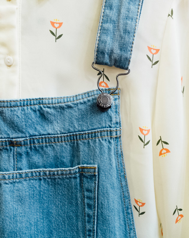 floral blouse and denim dungarees