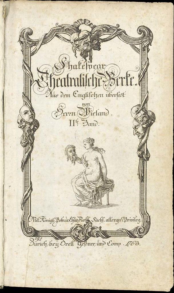Titelblatt Wieland, Shakespeare, Theatralische Werke, Band 2, Zentralbibliothek Zürich, Die erste deutsche Shakespeare-Übersetzung