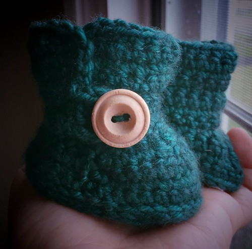 "Crocheted doll boots for 2 1/2 -3"" foot"