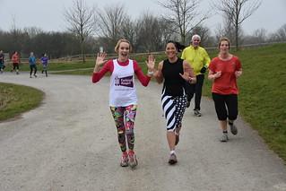 Paula and Letitia running at Great Notley parkrun.