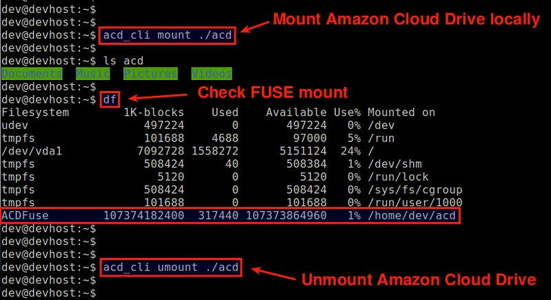 How to access Amazon Cloud Drive from the command line on Linux