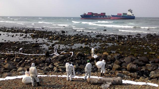 德翔台北輪擱淺於石門外海北方約500公尺處。攝影:林倩如。