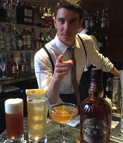 Rhys Wilson, Chivas Masters London Central Heat Winner, with his cocktails, (L-R):Wild Card, Key and Tea and The Happy Lyan
