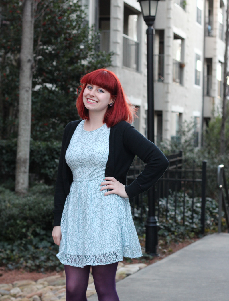 Outfit: Light Blue Lace Dress with Purple Tights and Colorful ...
