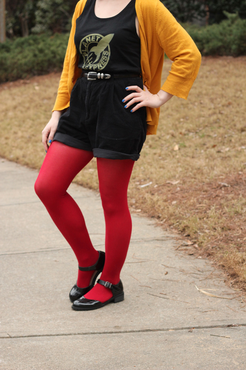 Mustard Oversized Cardigan, Planet Express Graphic Tank Top, Black Corduroy Shorts, and Red Tights