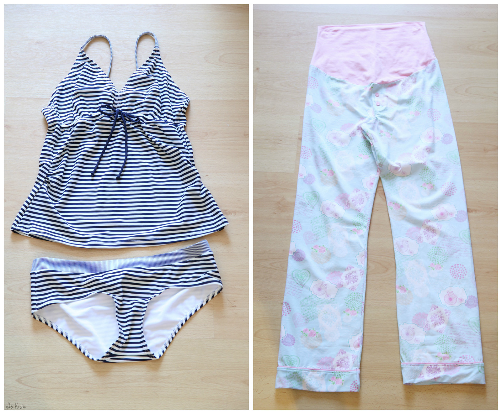 maternity clothes pregnancy shopping expectant expecting swimsuit two piece tankini nautical blue white stripes + pale pink blue floral pajamas pjs pyjamas belly band stretchy comfortable nightwear