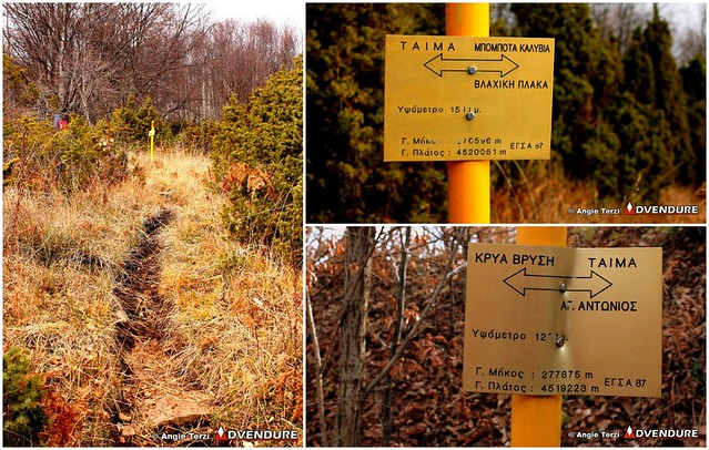Characteristic signs and stakes marking the trail of Florina Trail Challenge!