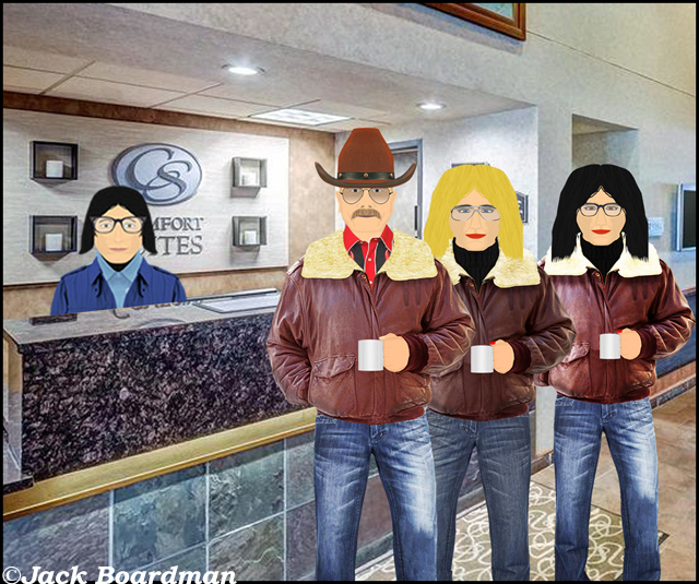 At the Comfort Suites front desk ©Jack Boardman