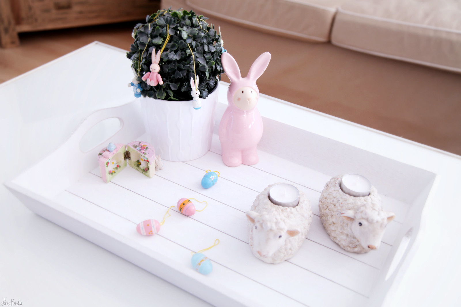 Easter home decoration living room white wooden trey tray shabby chic pink girly decor interior pastels sheep candle holders ikea pot eggs bunny vintage new 2016