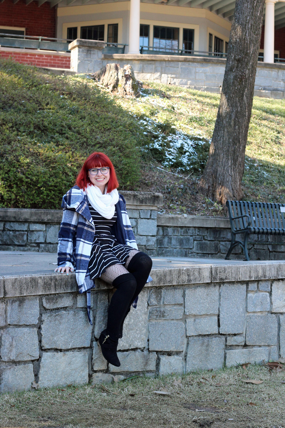 Blue Glasses, Chunky White Scarf, Blue Plaid Winter Coat, Striped Dress, and Black Knee Socks