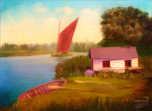 Painted historic image of Eel Fisher's Hut on the Bore using PS Mixer Brushes