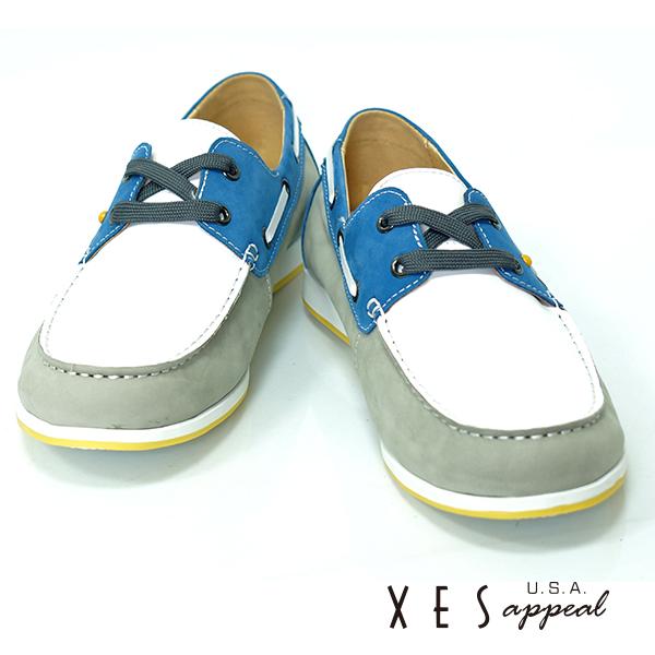 XES,專櫃鞋款,帆船鞋,真皮,撞色雷根,帥性藍