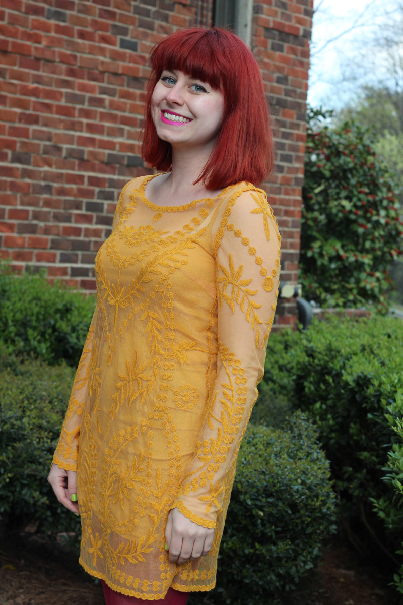 Sheer and Embroidered Yellow H&M Dress