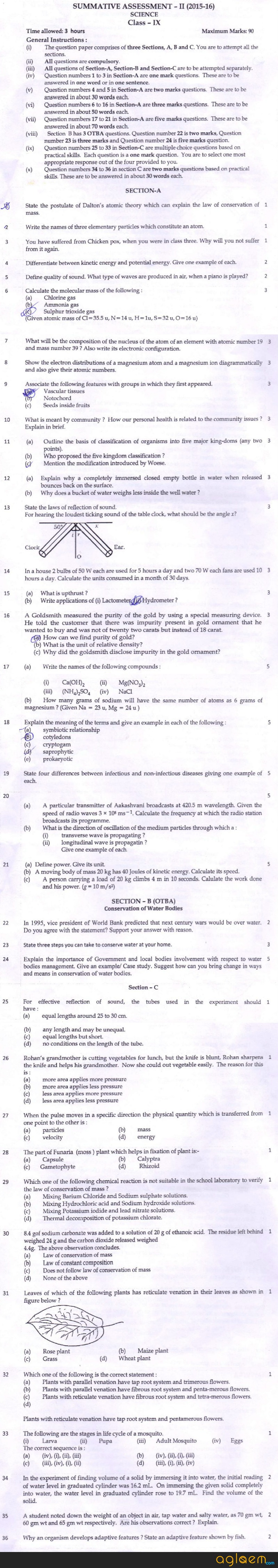 CBSE Class 09 Question Papers Science SA2