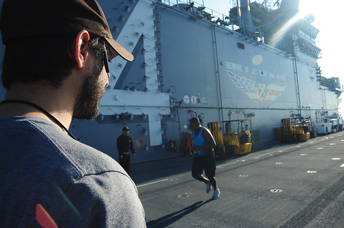 "GULF OF ADEN – Focused on a culture of health and wellness, the civilian afloat fitness specialist or ""Fit Boss"" aboard USS Boxer (LHD 4) helps Sailors and Marines reach new fitness milestones."