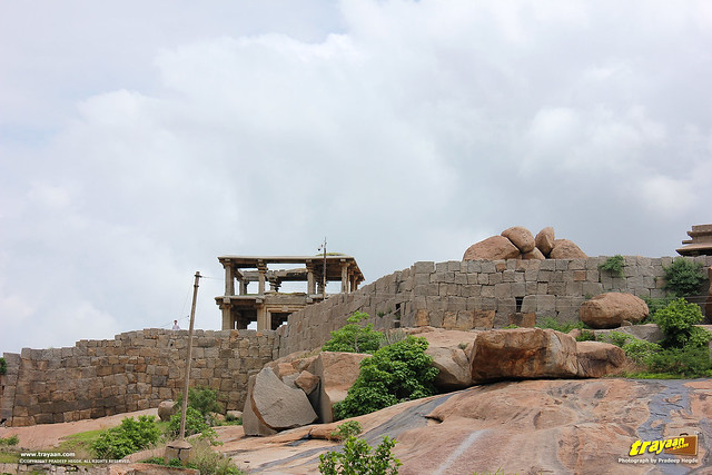 Rock pavillions and multi storeyed structures on Hemakuta Hill in Hampi, Ballari district, Karnataka, India