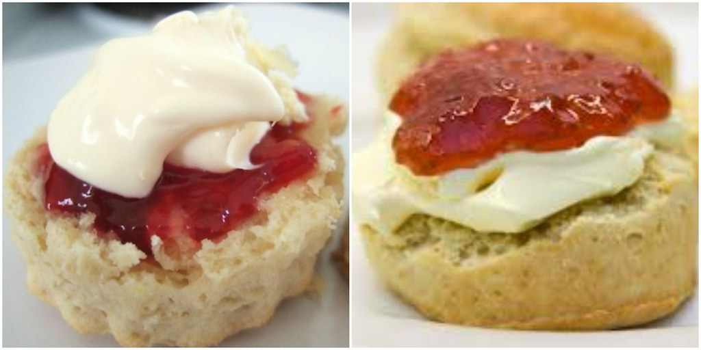 Left: the Cornish scone method. Right: the Devon (or Devonshire) method.