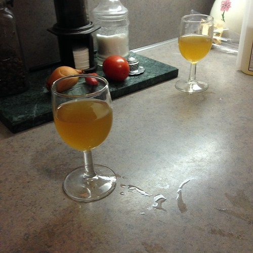 Taste-testing our yellow-gold colored leftover wit beer after moving it to a secondary fermenter