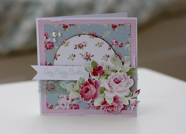 Wild Rose papers - Stitched Card by StickerKitten