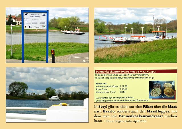 In Steyl gibt es nicht nur eine Fähre über die Maas nach Baarlo, sondern auch den MaasHopper, mit dem man eine Pannenkoekenrondvaart machen kann. Foto Fotocollage Brigitte Stolle April 2016