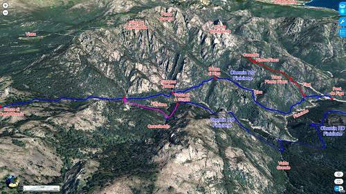 Photo 3D aérienne du Haut-Cavu secteur Finicione avec les deux chemins HR1 (Finicione RG) et HR1bis (Finicione RD)