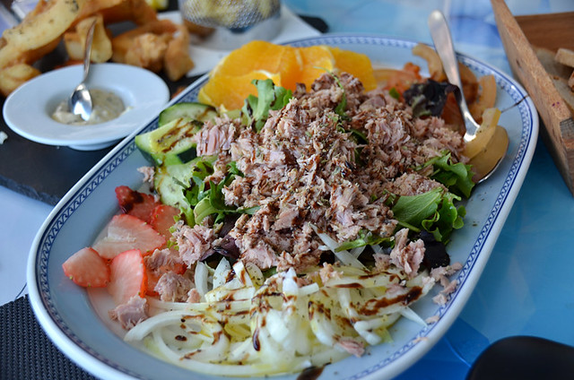 Tuna and fruit salad, Setubal, Portugal.