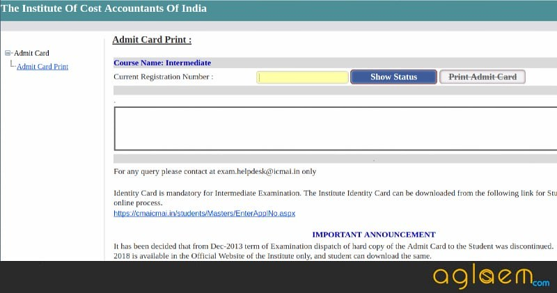 admit card for icwai inter dec 2013