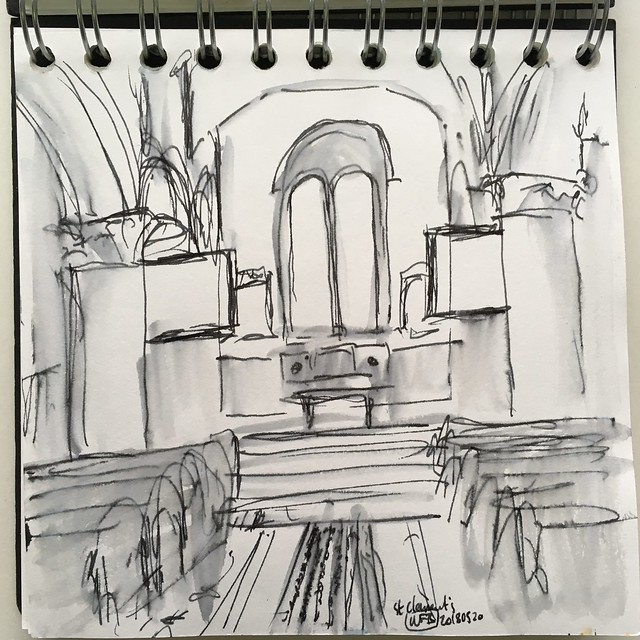 Pen and wash drawing of a church interior