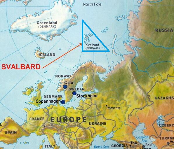 Mapa de situación de Svalbard en Europa
