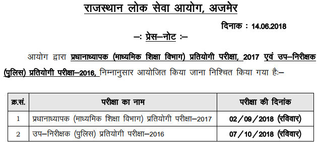 RPSC SI Admit Card 2018   Download Rajasthan Police SI Admit Card Here