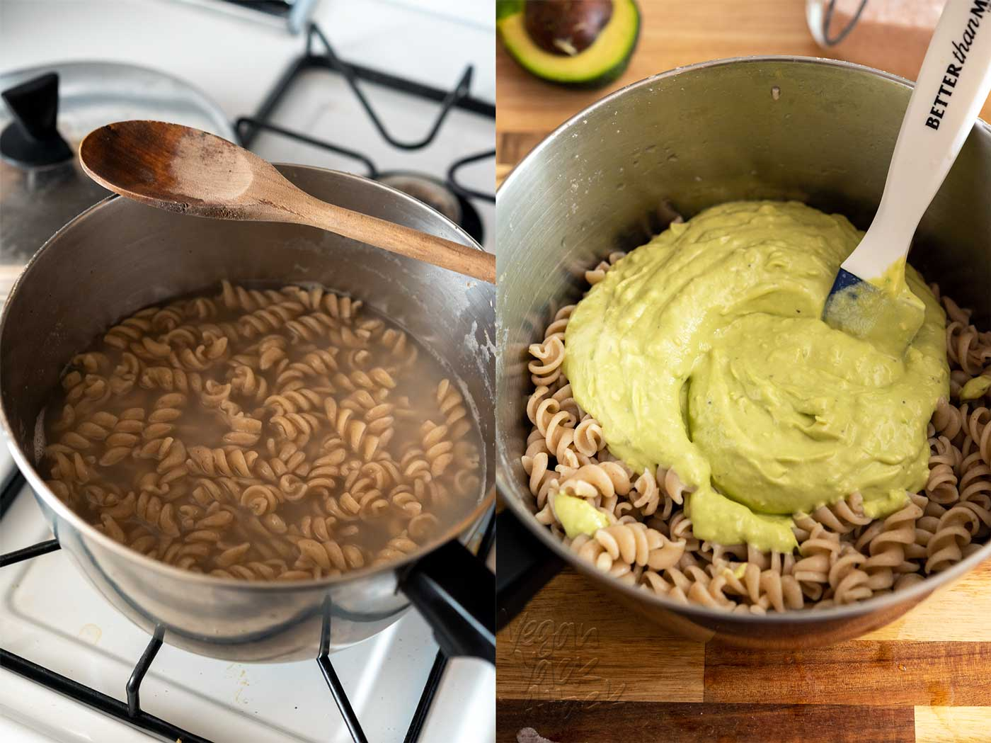 Here, creamy avocado and iron-rich tahini come together to make a delicious, super-simple, dish! This avocado tahini pasta is great for a quick dinner, or make-ahead lunch. Vegan, gluten-free, soy-free, and nut-free.