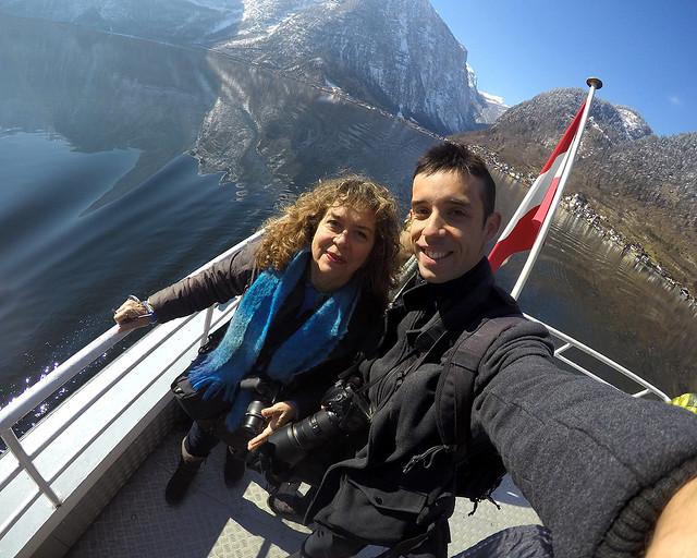 En el barco que hace el recorrido fotográfico por el lago de Hallstatt
