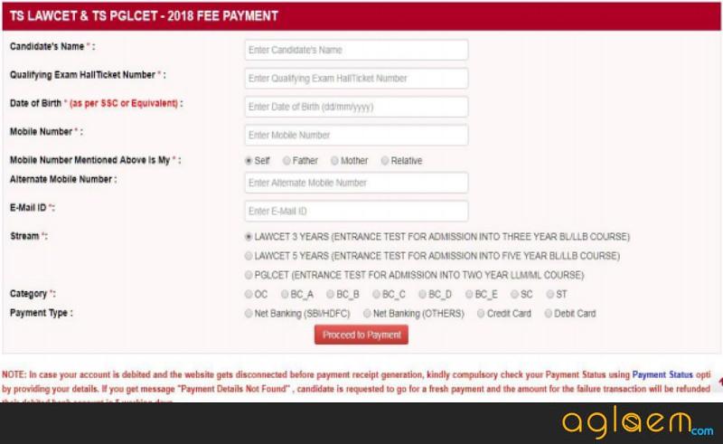 TS PGLCET 2019 Application Form