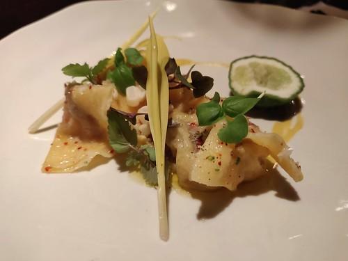 Charred foie gras dumplings, sweet corn, pecorino, kaffir lime