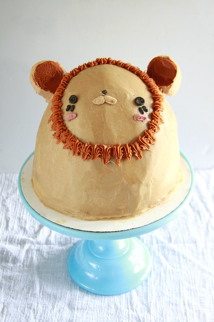Lion Cake with Poured Peanut Butter Frosting