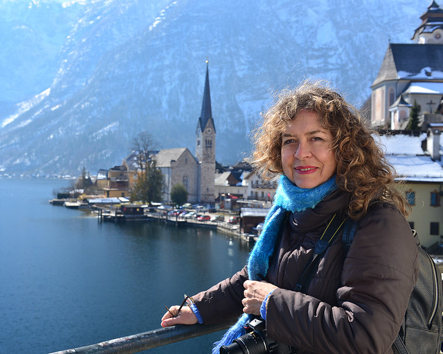 Mi madre, en el mirador del lago de Hallstatt