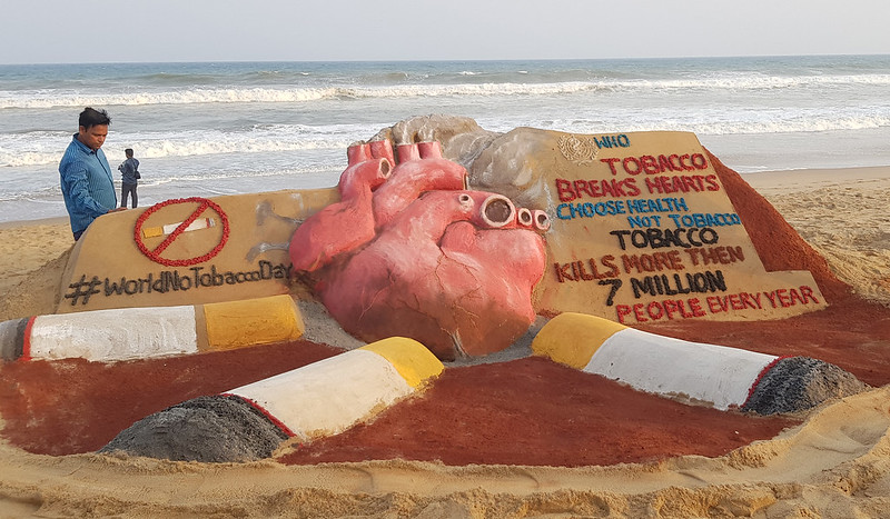 World No Tobacco Day, sand sculpture at on Manas's sand art Park at Puri