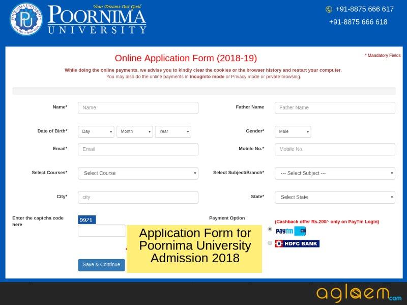 Poornima University Admission 2018