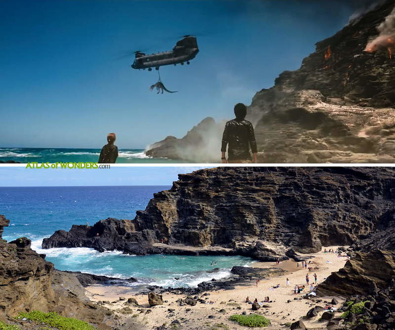 Beach where helicopter takes velociraptor