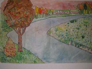 3 disegno del fiume in inverno