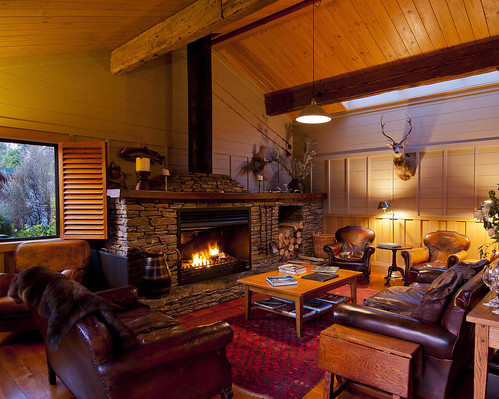 A living room in a lodge.
