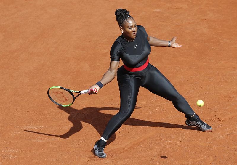 小威Serena Williams的全黑勁裝相當吸睛。(達志影像)